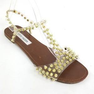 steve madden nickiee clear gold studded sandal 10